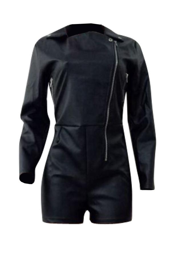 Симпатичная Мода Отложной Воротник Застежка -молния Дизайн Черный PU Цельные Короткие Комбинезоны