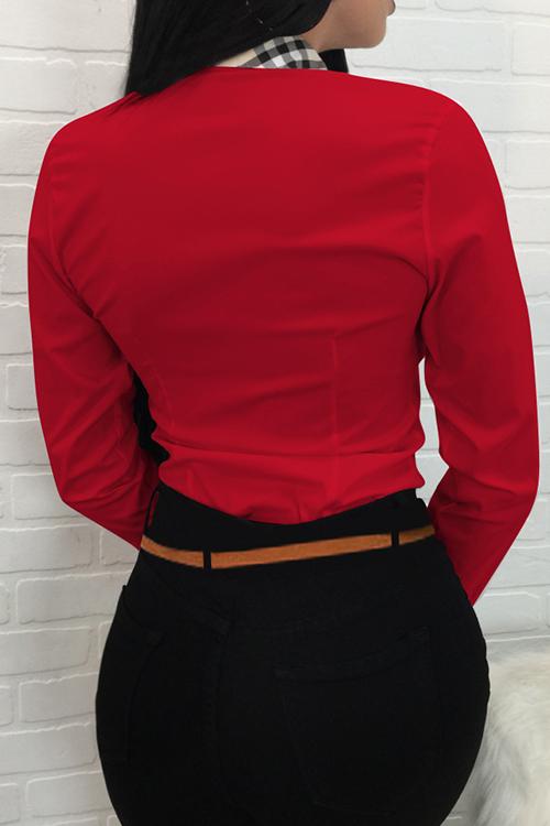 Camisas De Poliéster Rojo De Un Solo Pecho Con Cuello De Cisne