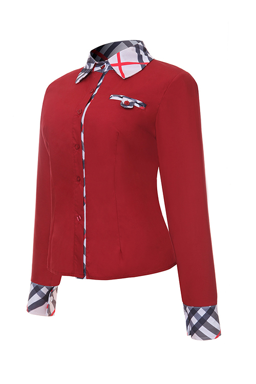 Fashion Turndown Collar Patchwork Single Breasted Red Polyester Shirts