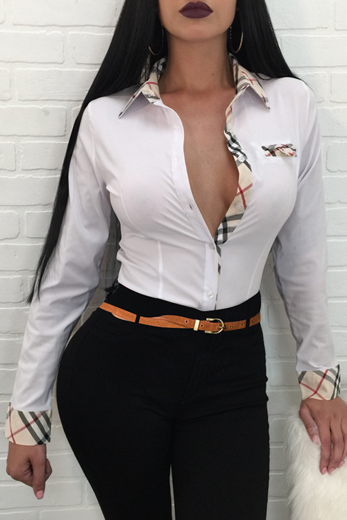 Fashion Turndown Collar Patchwork Single Breasted White Polyester Shirts<br>