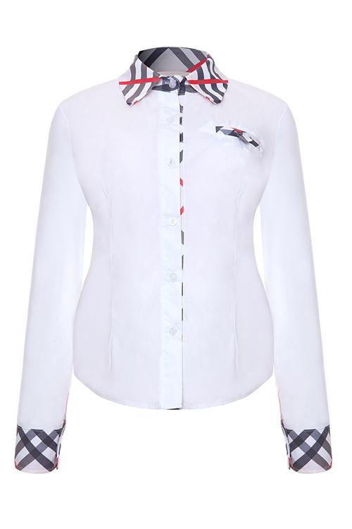 Mode-Turndown-Kragen Patchwork Einreihig Weißen Polyester-Shirts
