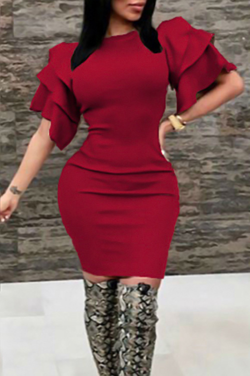 Sexy Round Neck Ruffle Sleeves Wine Red Polyester Knee Length Dress