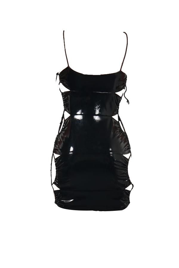 Sexy Sleeveless Lace-up Hollow-out Black PU Mini Dress