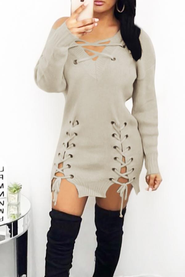 Sexy V Neck Eyelets Design Lace-up Khaki Polyester Mini Dress