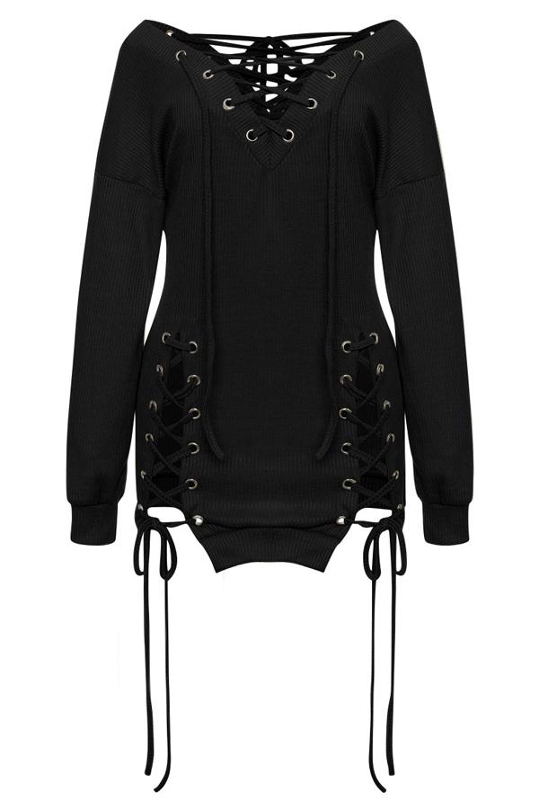 Sexy V-Ausschnitt Ösen Design Schnürung Schwarz Polyester Minikleid