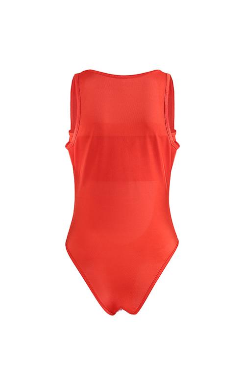 Schöne Sexy Aushöhlen Orange Polyester Einteilige Swimwears (mit Wickeltruhe)