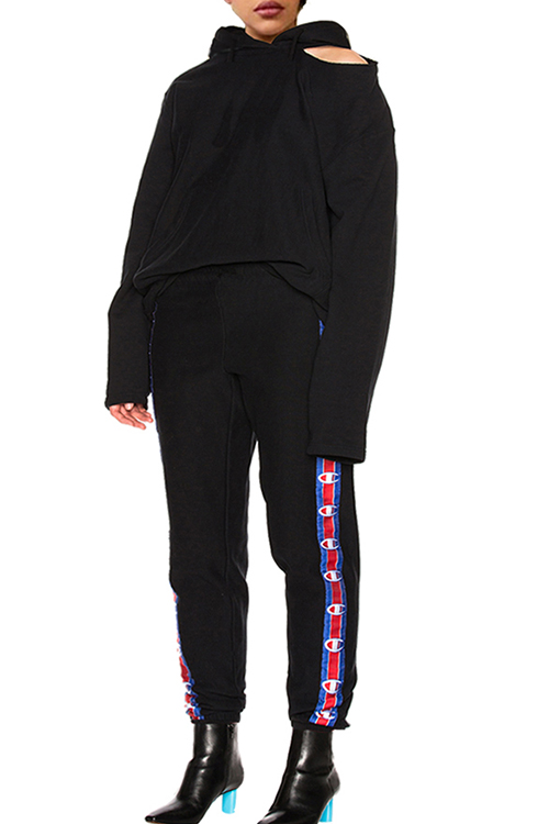 Lovely Casual Hooded Collar Printed Black Polyester Two-piece Pants Set