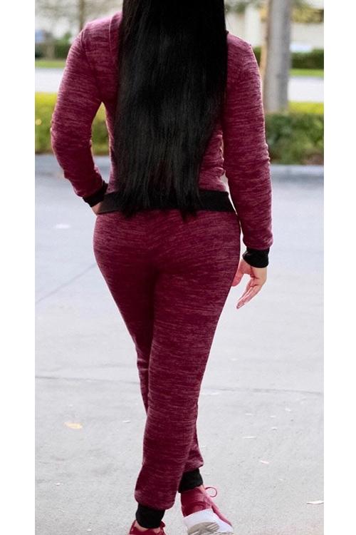 Adorável Casaco Com Capuz Com Zíper Design Vinho Vermelho Tricô De Duas Peças Conjunto De Calças