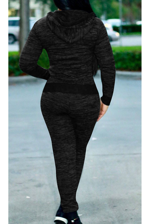 Lovely Casual Hooded Collar Zipper Design Black Knitting Two-piece Pants Set