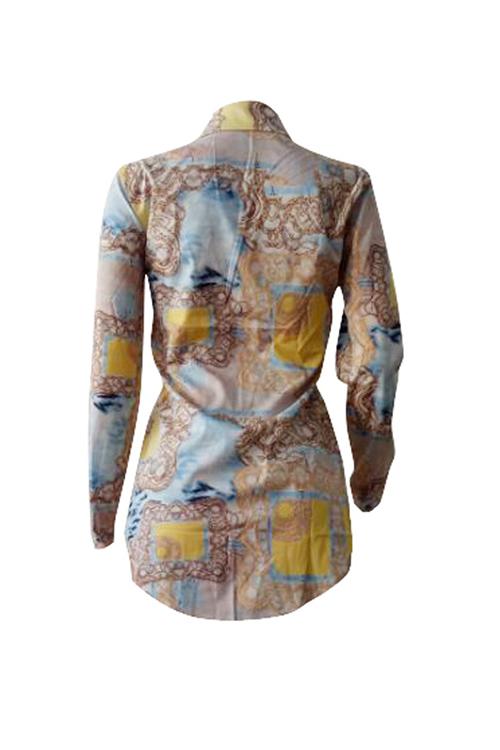 Lovely Leisure Turndown Collar Long Sleeves Printed Polyester Shirts
