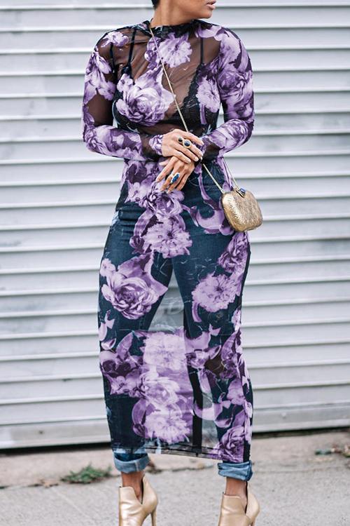 Precioso Cuello Redondo Transparente Estampado Floral De Poliéster Medio Vestido De Ternera (impresión Sin Posicionamiento)