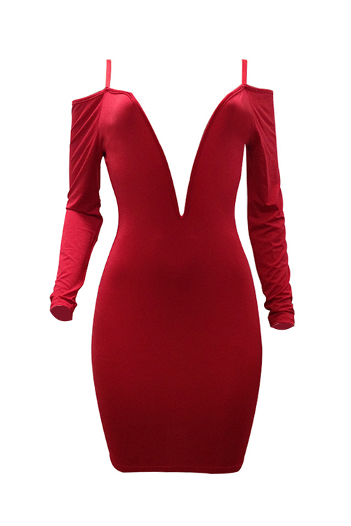 Adorável Sexy Profunda Pescoço Pescoço Ombro Ombro Vermelho Fibra De Leite Joelho Comprimento Vestido