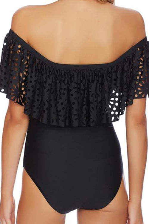 Lovely Sexy Square Collar Hollow-out Flounce Black Polyester One-piece Swimwears