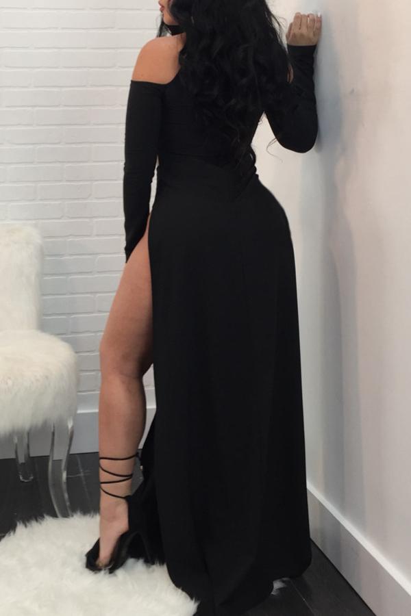 Lovely Sexy Turtleneck Cold-shoulder Side Slit Black Polyester Ankle Length Dress