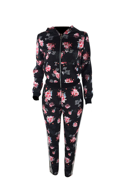 Lovely Casual Hooded Collar Floral Printed Black Blending Two-Piece Pants Set