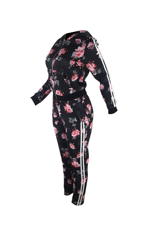 Lindos Colar Com Capuz Casual Floral Impresso Preto Combinando Conjuntos De Calças De Duas Peças