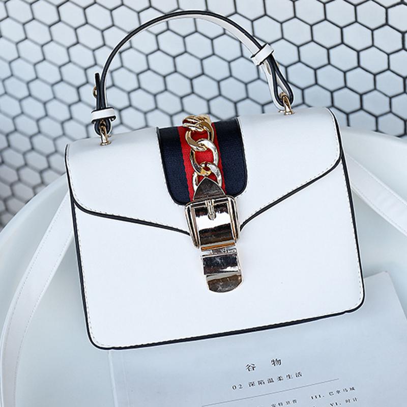 Lovely Fashion Chain Decorative Hasp Design White PU Crossbody Bag