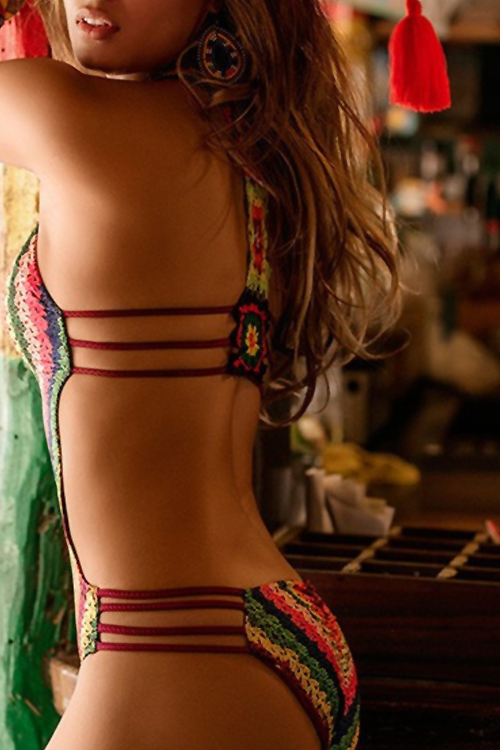 Lovely Sexy V Neck Backless Rainbow Printing Polyester One-piece Swimwears