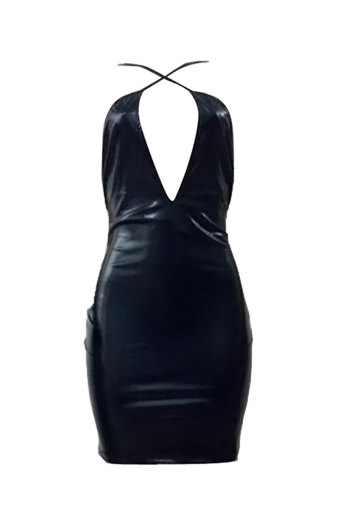 Lovely Sexy Crossed Spaghetti Strap Sleeveless Chest Hollow-out Black PU Mini Bodycon Dress
