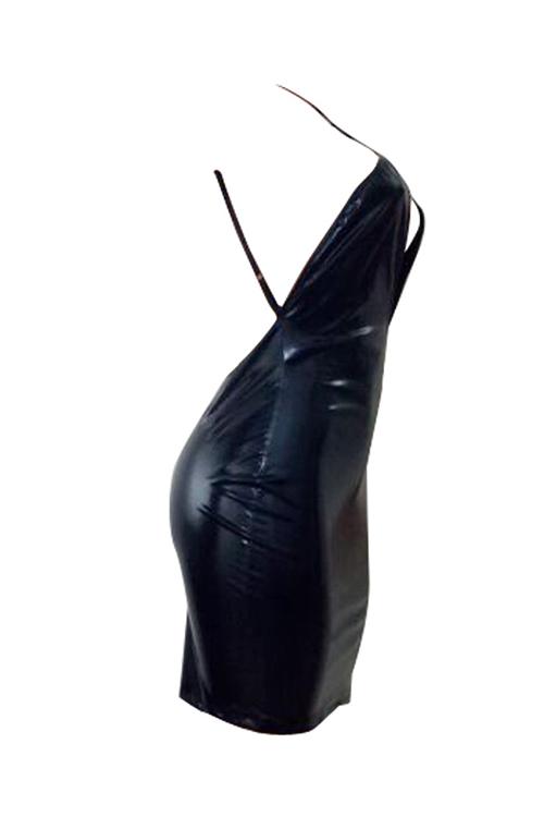 Adorável Sexy Curvatura Cruzada De Espaguete Sem Mangas Peito Oco Preto PU Mini Bodycon Vestido