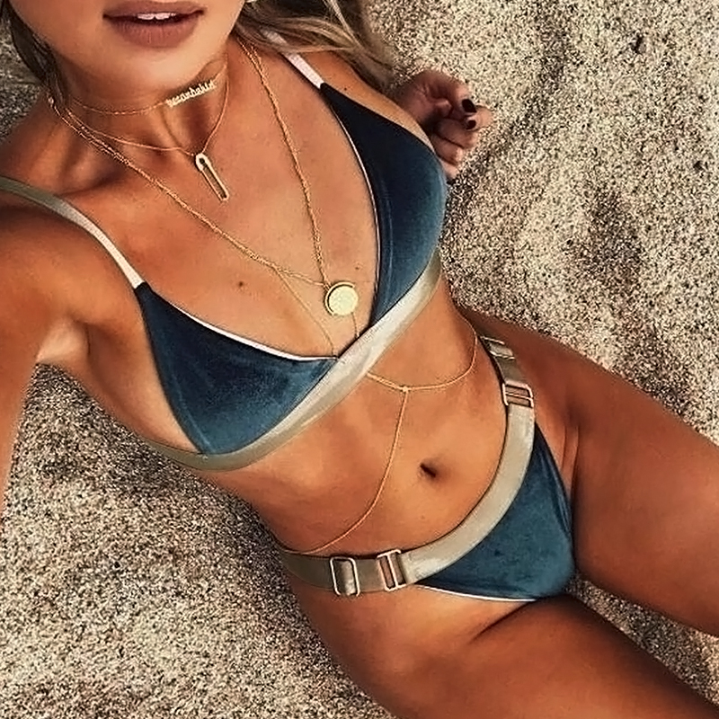 Lovely Fashion Patchwork Blue Polyester Two-piece Swimwears