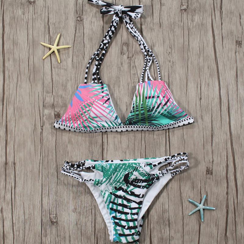 Симпатичный Сексуальный Шнурок-вверх Полая-вне Напечатал Полиэфир 2-частей Swimwears