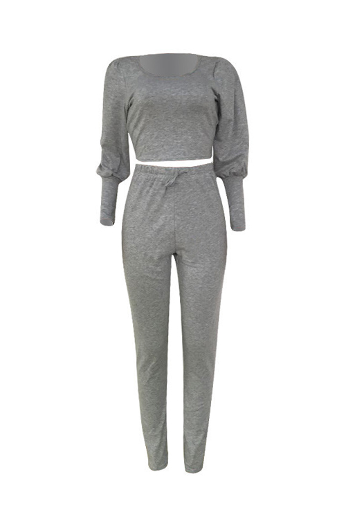 Lovely Casual U Neck Lantern Sleeves Grey Cotton Two-Piece Pants Set