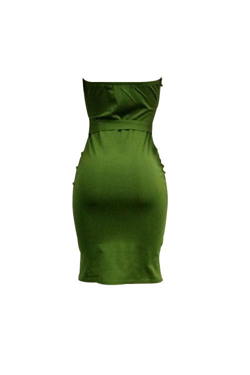 Adorável Botão Sem Alças Sexy Decorativo Verde Tecido Tecido Gola Joelho Comprimento Vestido (com Cinto)
