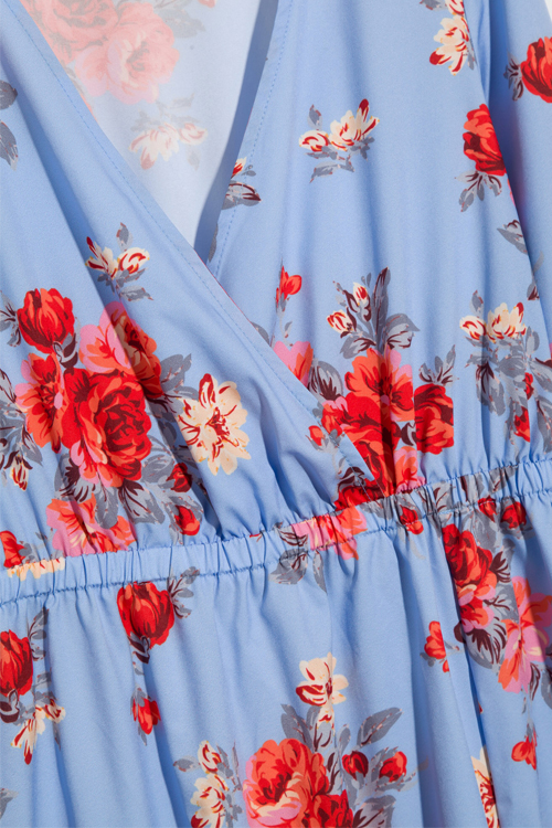 Lovely Fashion V Neck Floral Printed Side Slit Blue Polyester Maxi Dress