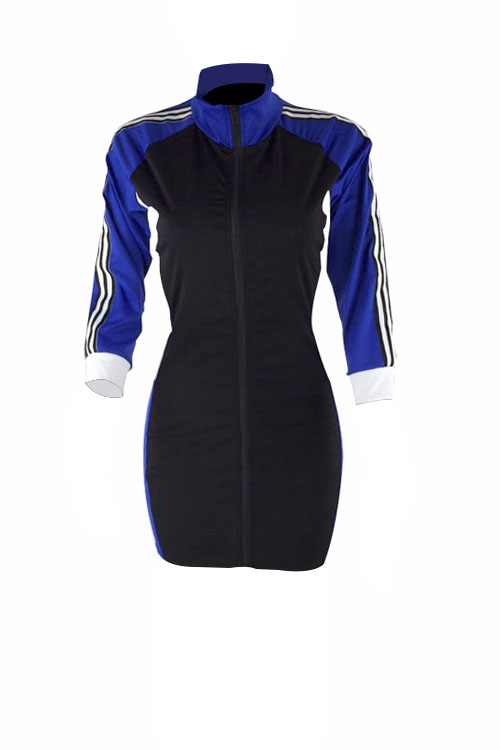 Lovely Casual Turtleneck Patchwork Blue Polyester Sheath Mini Zipped Dress
