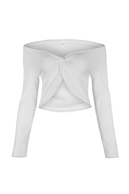 Lovely Trendy V Neck Knot Design White Knitting Sweaters