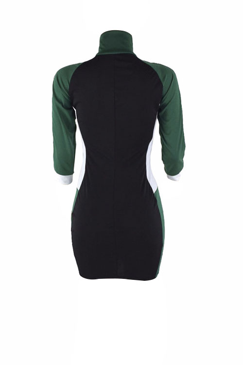 Lovely Casual Turtleneck Patchwork Green Polyester Sheath Mini Zipped Dress