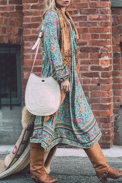 Lovely Bohemian V Neck Irregular Design Floral Printed Green Polyester Midi Dress