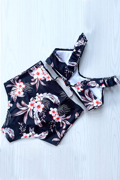 Lovely Fashion Floral Printed Black Polyester Two-piece Swimwears