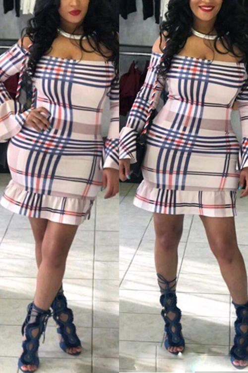 Lovely Sexy Bateau Neck Falbala Design Plaid Printed Khaki Polyester Mini Dress(Non Positioning Printing) Dresses <br><br>