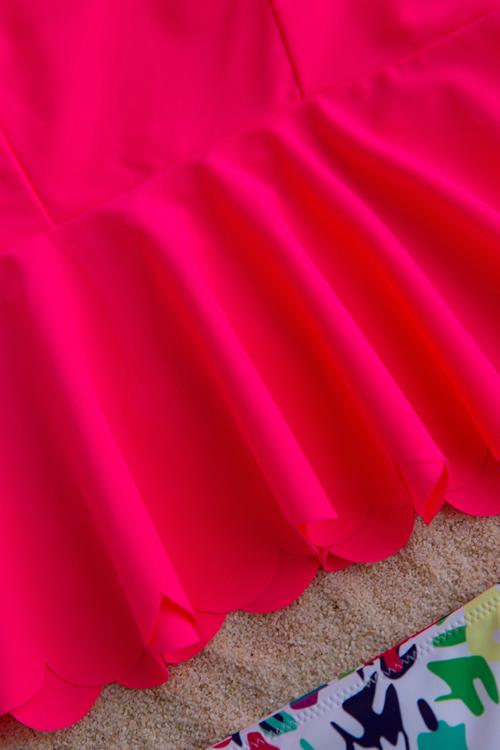 Precioso Diseño De Colmena Floral Impreso De Dos Piezas Traje De Baño De Poliéster Rojo