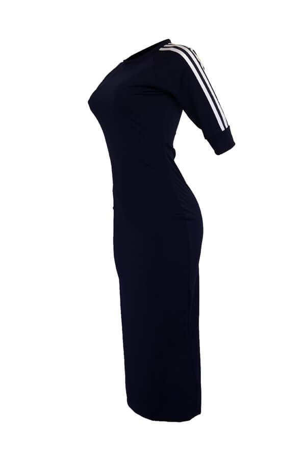 LovelySexy Round Neck Striped Dark Blue Polyester Sheath Mid Calf Dress