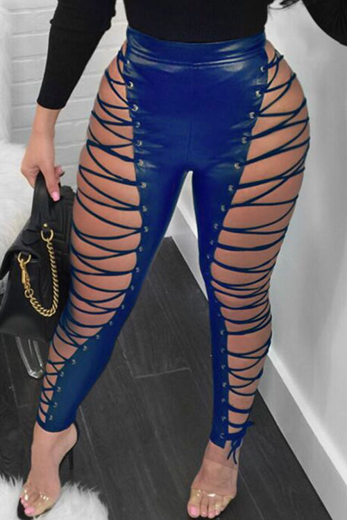 LovelyFashion High Elastic Waist Lace-up Hollow-out Blue Leather Pants
