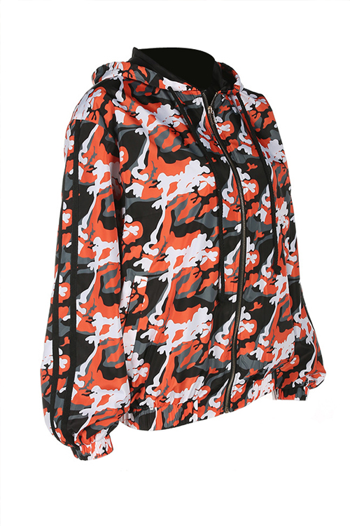 Lovely Euramerican Hooded Collar Camouflage Printed Orange Polyester Coat