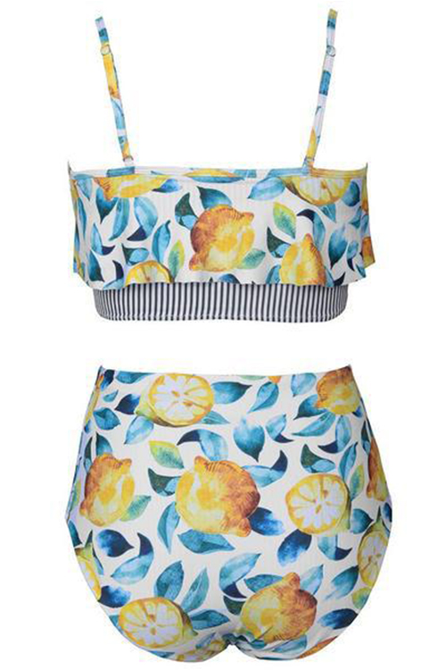 Lovely Sexy Falbala Design Floral Printed Polyester Two-piece Swimwears
