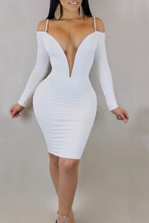 Lovely Sexy Deep V Neck Dew Shoulder White Milk Fiber Knee Length Dress Dresses <br><br>