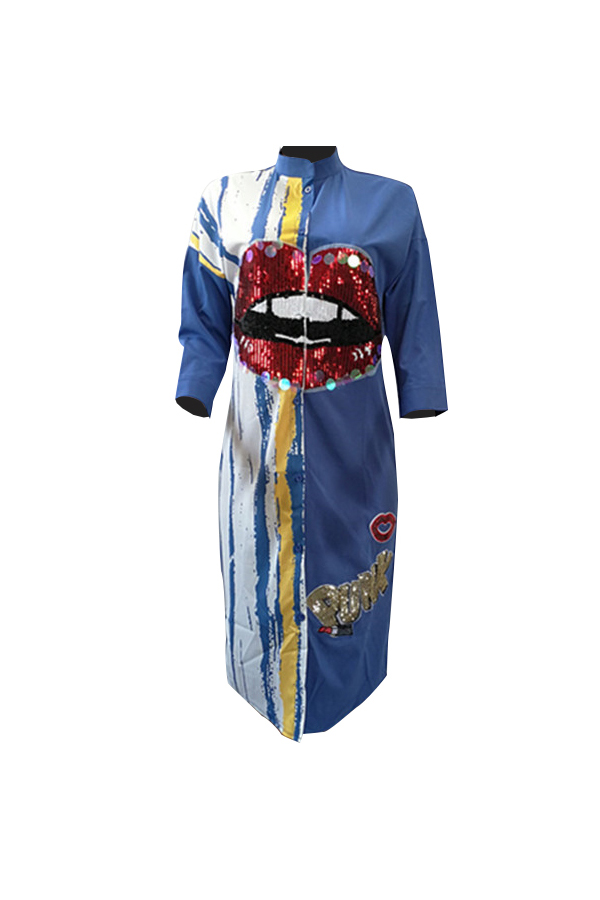 LovelyCasual Round Neck Printed Sequins Decoration Royalblue Polyester Mid Calf Dress