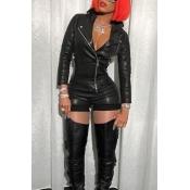 Lovely Fashion Turndown Collar Zipper Design Black