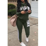 Casual Heaps Collar Striped Letters Printed Army Green Qmilch Two-Piece Pants Set