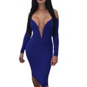 Прекрасный Сексуальный Глубокий V Шеи Роса Плеча Синего Молока Волокна Колено Длина Платье