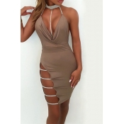Lovely Sexy Mandarin Collar Hollow-out Khaki Cotton Sheath Mini Bodycon Dress