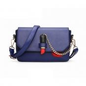 Lovely Fashion Chain Decorative Hasp Design Blue PU Crossbody Bag