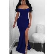 Lovely Sexy Bateau Neck Side Slit Royalblue Polyester Maxi Mermaid Dress
