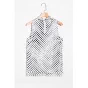 Lovely Fashion V Neck Dot Printed White Chiffon Ta