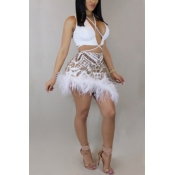 Lovely Sexy V Neck Sequins And Fur Decoration White Polyester Two-piece Skirt Set